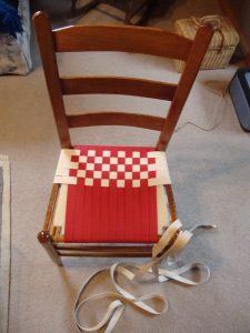 red and white chair