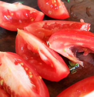 And, take the seeds out of the tomatoes.