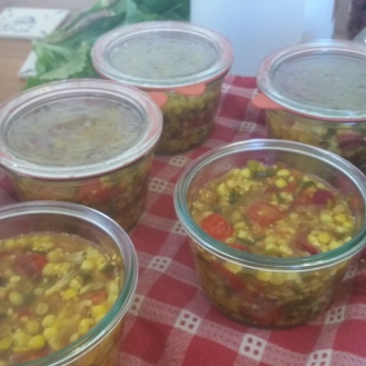 corn relish into jars