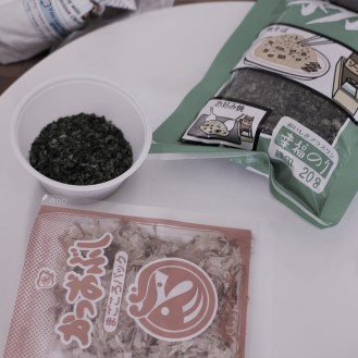 nori and tuna flakes